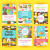 Easter Greeting Vector Template Invitation Set in Modern Flat St