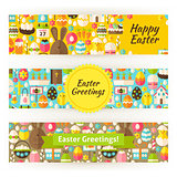 Easter Greetings Template Banners Set in Modern Flat Style