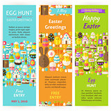 Easter Holiday Vector Invitation Vertical Flyer Set