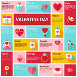 Flat Design Vector Icons Infographic Valentine Day Concept