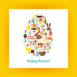 Flat Egg Shaped Vector Set of Happy Easter Objects over white Pa