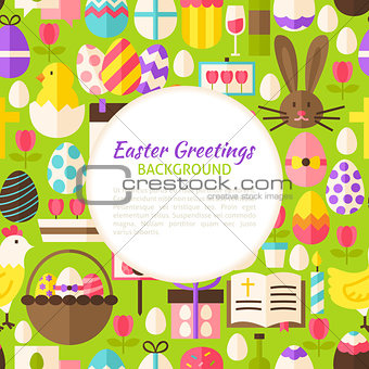 Flat Happy Easter Vector Pattern Background