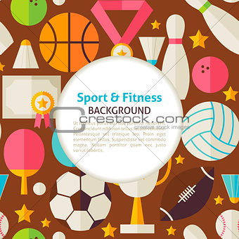 Flat Sport and Fitness Vector Pattern Background
