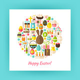 Flat Style Circle Vector Set of Happy Easter Objects over white