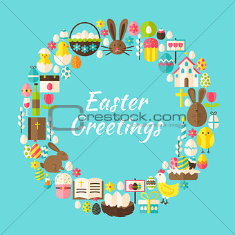 Flat Style Vector Circle Template Collection of Easter Greeting