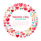Flat Style Vector Circle Template Collection of Valentines Day O