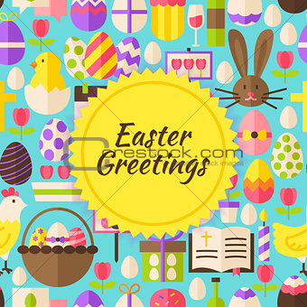 Flat Vector Happy Easter Background