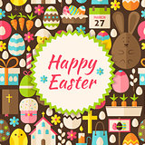 Flat Vector Pattern Happy Easter Background
