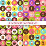Four Vector Flat Happy Easter Seamless Pattern Set with Circles