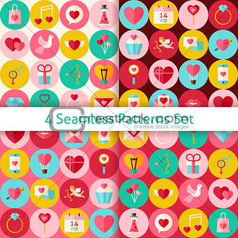 Four Vector Flat Happy Valentine Day Seamless Patterns Set with