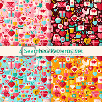 Four Vector Flat Valentine Day Seamless Patterns Set