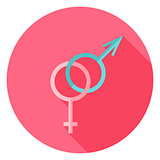 Gender Sex Sign Circle Icon with long Shadow