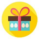 Gift Box with Easter Eggs Circle Icon