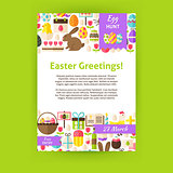 Happy Easter Holiday Vector Invitation Template Poster