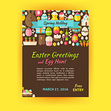 Happy Easter Holiday Vector Template Poster Flat Style