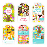 Happy Easter Vector Gift Tag Template Flat Set
