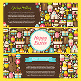 Happy Easter Vector Horizontal Banners Flat Set