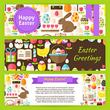 Happy Easter Vector Template Banners Set in Modern Flat Style