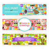 Happy Easter Vector Template Banners Set Modern Flat