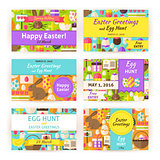 Happy Easter Vector Template Invitation Modern Flat Set