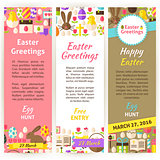 Happy Easter Vector Vertical Flyer Set