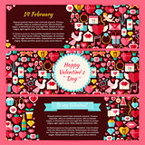 Happy Valentine Day Vector Horizontal Banners Flat Set