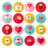 Happy Valentines Day Circle Icons Set with long Shadow