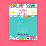 Healthy Lifestyle Sport Invitation Vector Template Flyer