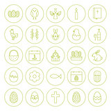 Line Circle Orthodox Easter Icons Set