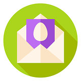 Open Envelope with Easter Egg Postcard Circle Icon
