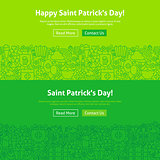 Saint Patrick Day Line Art Web Banners Set