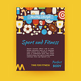 Sport and Fitness Vector Template Banner Flyer Modern Flat Style