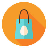 Spring Shopping Bag with Easter Egg Circle Icon