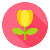 Spring Tulip Flower with Leaves Circle Icon