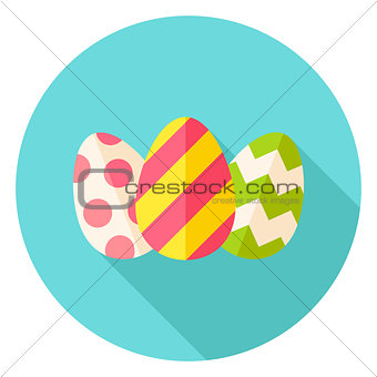 Three Easter Eggs with Decor Circle Icon