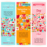 Valentine Day Holiday Vector Invitation Vertical Flyer Set