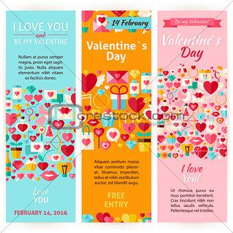 Valentine Day Holiday Vector Invitation Vertical Flyer Set
