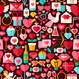 Valentine Day Vector Flat Design Dark Seamless Pattern
