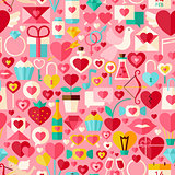 Valentine Day Vector Flat Design Pink Seamless Pattern