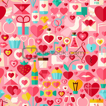 Valentine Day Vector Flat Design Pink Seamless Pattern