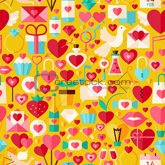Valentine Day Vector Flat Design Yellow Seamless Pattern