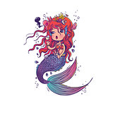 Doodle Mermaid Under the Sea Cartoon Character
