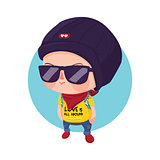 Hipster Boy Cartoon Character