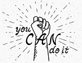 You can do it handwritten text with human fist