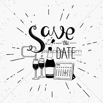 Save the date design element with calendar and champagne