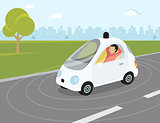 Self-driving car flat modern illustration