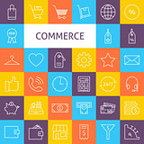 Vector Line Art Commerce Icons Set