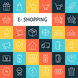 Vector Line Art Online Shopping Icons Set