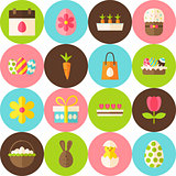 Vector White Happy Easter Seamless Pattern with Circles