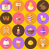 Vector Yellow Happy Easter Seamless Pattern with Circles